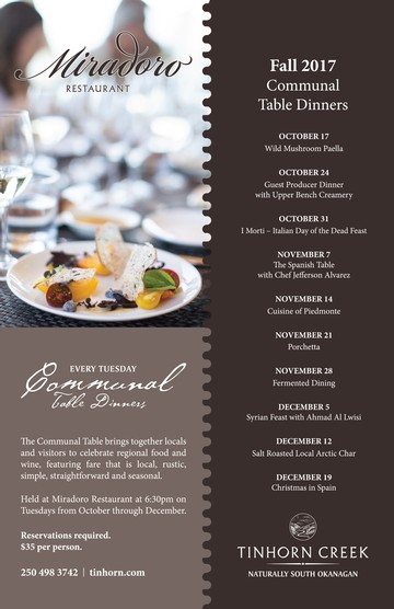 Miradoro Communal Table Dinners - Tuesdays until Dec 19