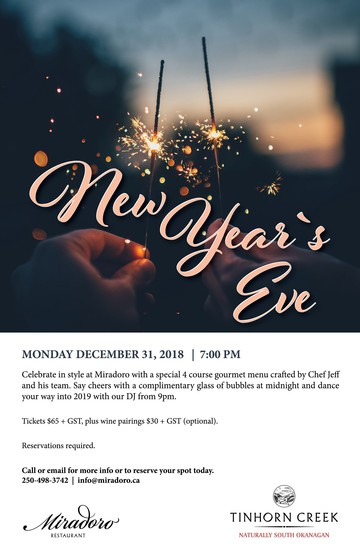New Year's Eve at Miradoro - Dec 31
